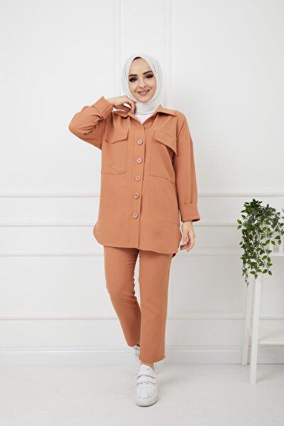 Kadın Tesettür Kapaklı Cepli Gömlek&pantolon Takım