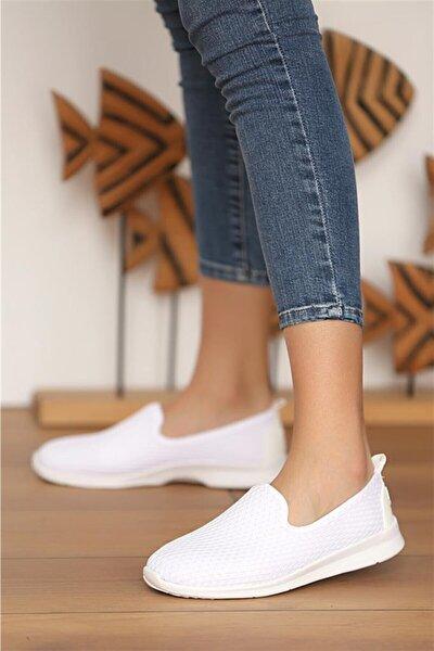 Kadın Beyaz Aqua Ortopedik Rahat Taban Spor Babet Ayakkabı