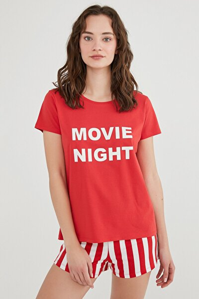 Kırmızı Base Movie Pijama Takımı