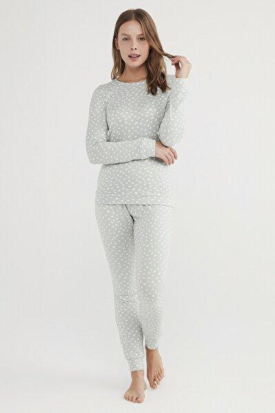 Kadın Mint Yeşili Mint Leo Termal Pijama Takımı