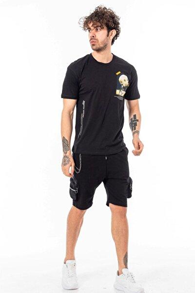 Erkek Siyah Kısa Kollu Oversize Baskılı T-shirt