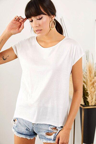 Kadın Ekru Kesik Yaka Altı Çan Tişört TSH-19000462