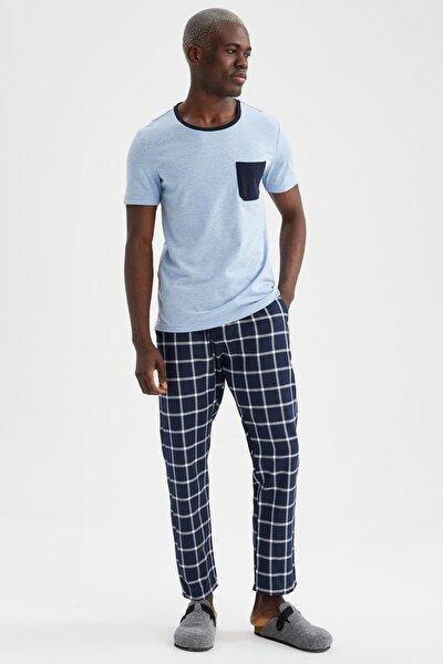 Erkek Mavi Slim Fit Pijama Takımı