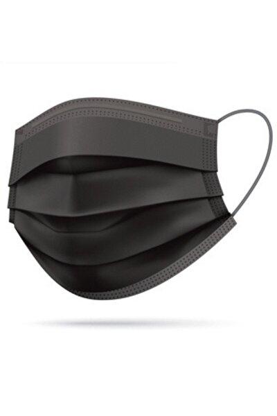 """3 Katlı Siyah Medikal Maske """"50"""" Adet"""