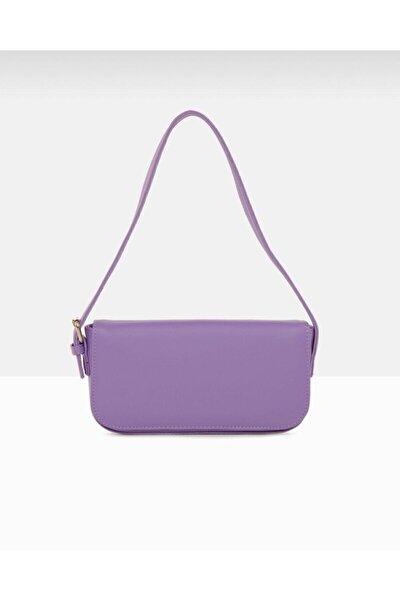 Kadın Lila Kapaklı Baget Çanta