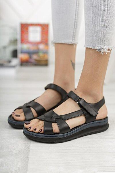 Kadın Siyah Hakiki Deri Günlük Sandalet