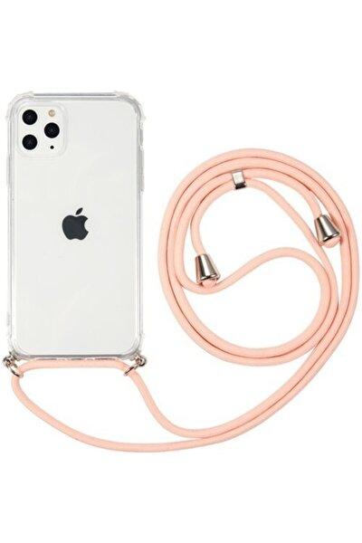 Apple Iphone 11 Pro Kılıf Ipli Askılı Ultra Koruma Antishock Silikon+cam Ekran Pembe
