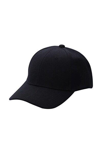 Unisex Siyah Spor Arkası Cırtlı Ayarlanabilir Şapka 55-60 Cm