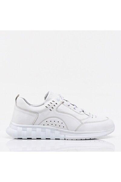 Hakiki Deri Beyaz Erkek Spor Ayakkabı