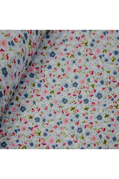 Mavi 170 Cm Eninde Çiçekli Poplin Kumaş