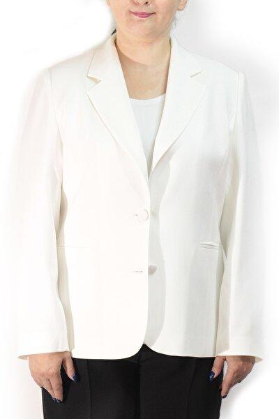 Kadın Büyük Beden Düğmeli Klasik Beyaz Ceket