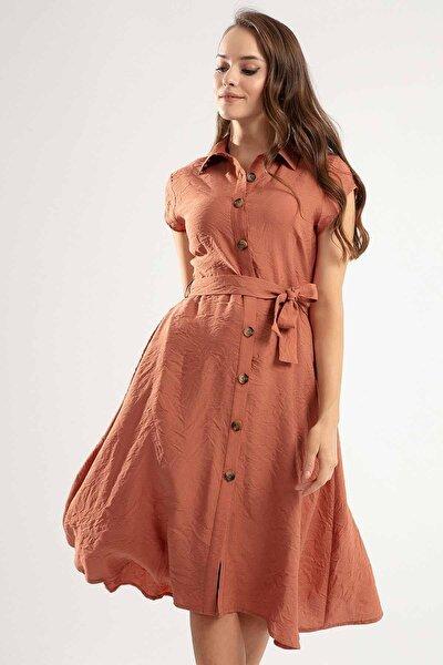 Kadın Kuşaklı Kısa Kollu Kloş Gömlek Elbise Y20s110-1677