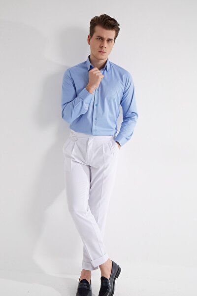 Erkek Mavi Düz Pamuk Gömlek - Slım Fıt