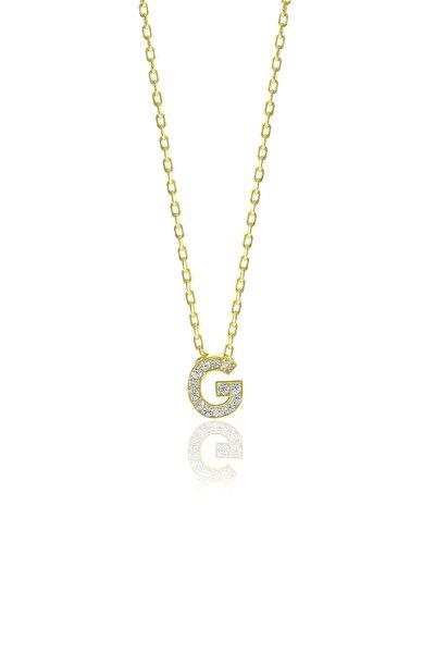 Gümüş  Altın Yaldızlı Üç Boyutlu Minimal G Gümüş Harf Kolye