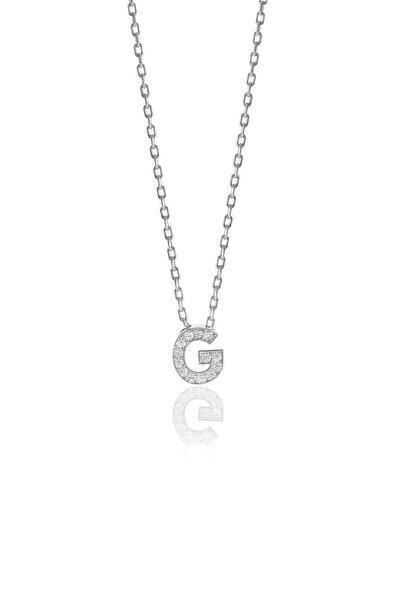 Gümüş  Rodyumlu Üç Boyutlu Minimal G Gümüş Harf Kolye