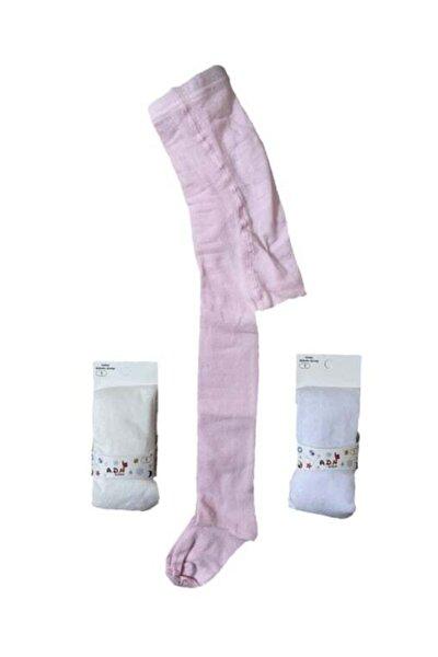 Unisex Çocuk Beyaz Desenli Külotlu Çorap Seti 3'lü