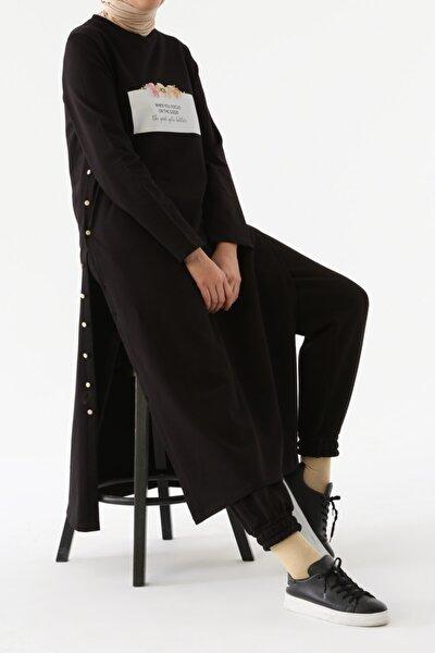 Siyah Yan Düğmeli Elbise Tunik