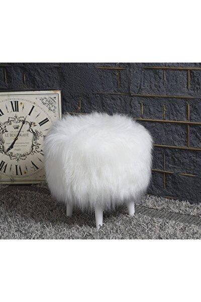 Beyaz Dekoratif Peluş Puf Ayak Uzatma Makyaj Masası İçin Uygun Yogun Tüylu Tabure Puf