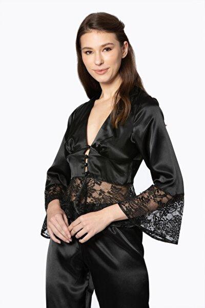 Kadın Saten Dantelli Pijama Takımı -1100 Siyah