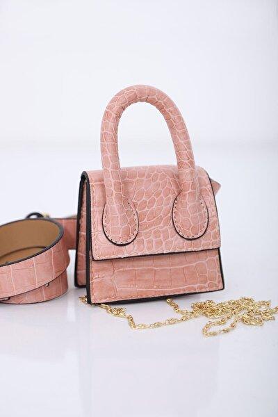 Kadın Pembe Mini Zincirli & Kemerli Çanta