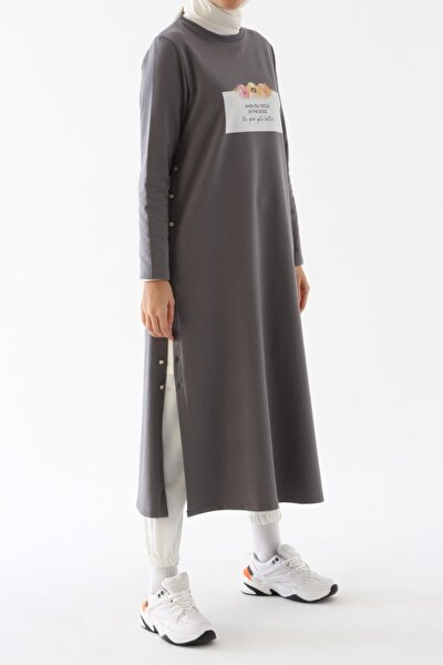 Kadın  Gri Duman Yan Düğmeli Elbise Tunik