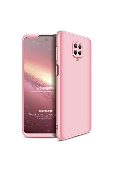 Microsonic Redmi Note 9 Pro Kılıf Double Dip 360 Protective Rose Gold