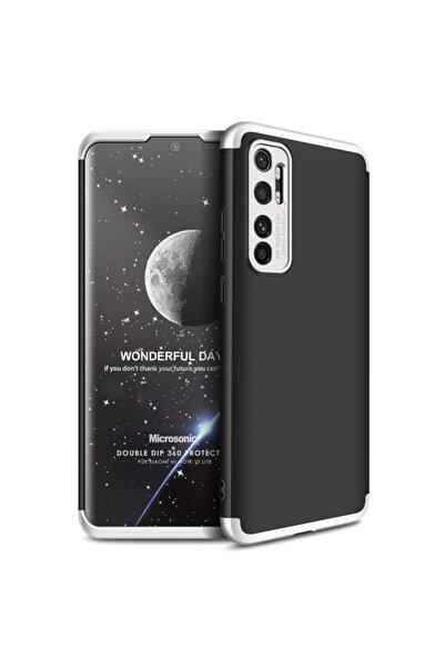 Microsonic Mi Note 10 Lite Kılıf Double Dip 360 Protective Siyah Gri