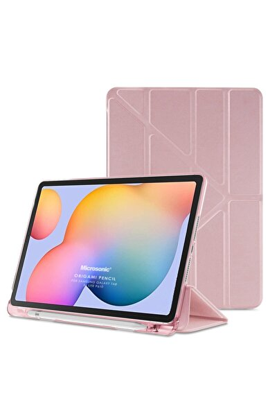 "Microsonic Galaxy Tab S6 Lite 10.4"" P610 Kılıf Origami Pencil Rose Gold"