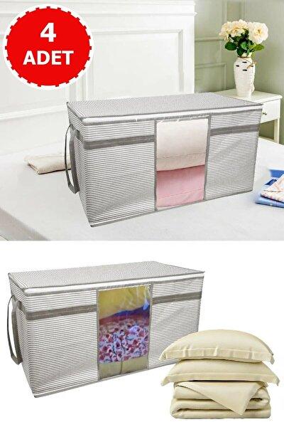 4 Adet Pencereli Yastık Ve Yorgan Hurcu Beyaz Çizgili 40 Cm X 40 Cm X 75 Cm