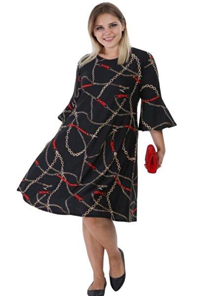 Kadın Zincir Desen Volan Kol Büyük Beden Elbise
