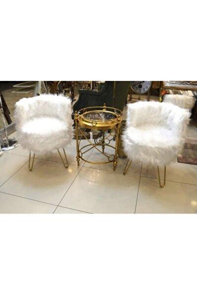 Peluş Puf 2'li Berjer Set Beyaz Renk Peluş Kumaş - Gold Renk Ayak Mrf-7680