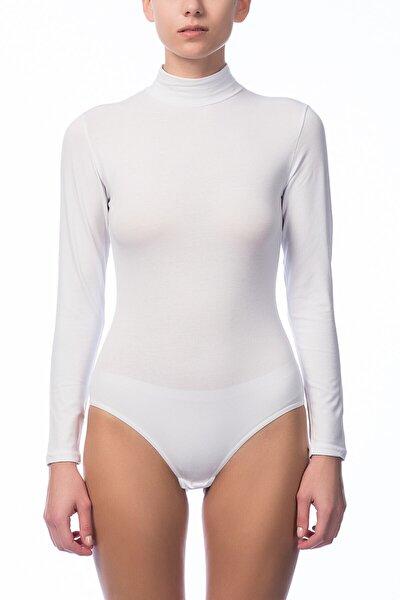 Kadın Beyaz Uzun Kol Çıtçıtlı Body 2960