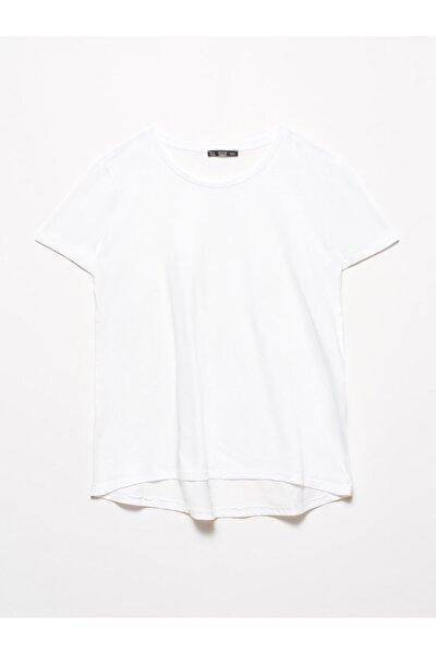 3471 Bisiklet Yaka Basic T-shirt-beyaz