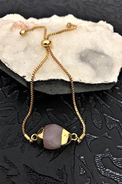 Dr Stone Golden Pembe Kuvars Taşı 22k Altın Kaplama El Yapımı Kadın Bileklik Tkrb20