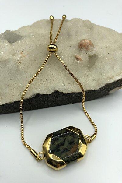 Dr Stone Golden Serpantin- Yılan Taşı 22k Altın Kaplama El Yapımı Kadın Bileklik Tkrb12