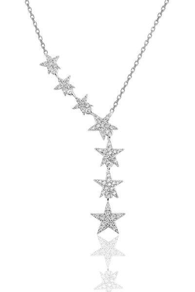 Gümüş Rodyumlu Zirkon Taşlı Kayan Yıldız Kolye