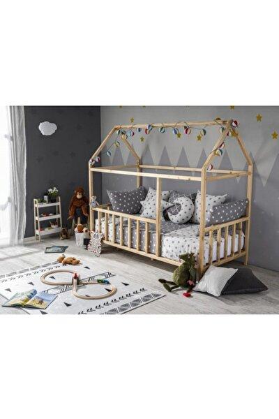 Unisex Bebek ve Çocuk ® Çatılı Doğal Montessori  Karyolası