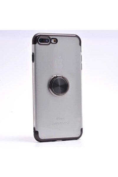 Apple Iphone 7 Plus Şeffaf Kenarları Renkli Silikon Kılıf Yüzüklü Standlı Mıknatıslı Kapak