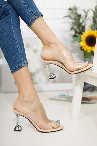 Kadın, Şeffaf Topuklu Ayakkabı,krem