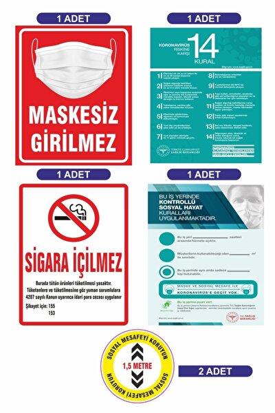 Covid 19 Uyarı Seti Maskesiz Girilmez Sosyal Mesafe Etiketi Sigara Içilmez 5'li Set