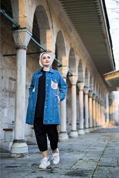 Kadın Mavi Pul Detaylı Kot Ceket