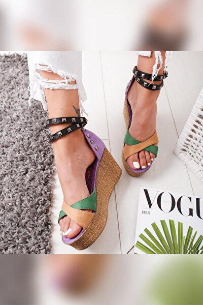 Lisa Lila Ten Haki Zımbalı Hasır Dolgu Topuk Ayakkabı