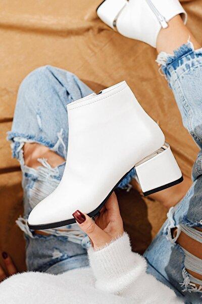 Marina Beyaz Deri Ahşap Yuvarlak Topuklu Ayakkabı