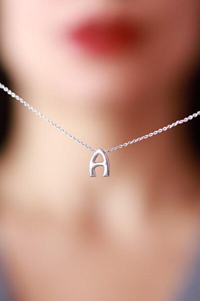 Kadın Gümüş Renkli A Harfli Kolye