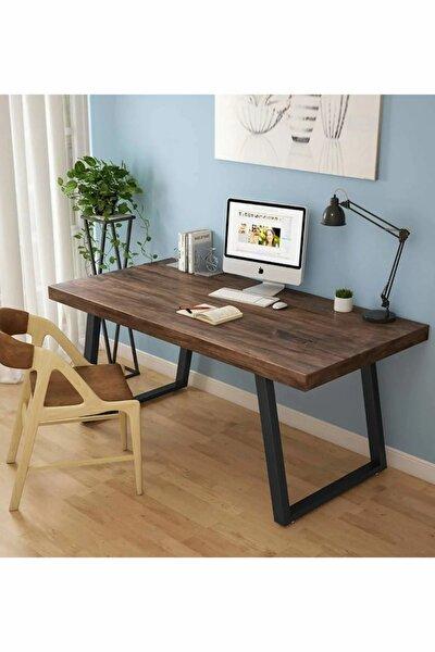 Ahşap Masif Ağaç Doğal Çalışma Masası Demir Iskelet Ofis Masası