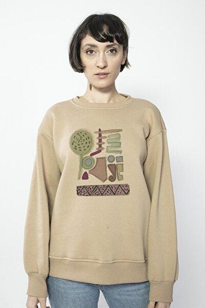 Unisex Özel Tasarım Bahçe Vizon Oversize Sweatshirt