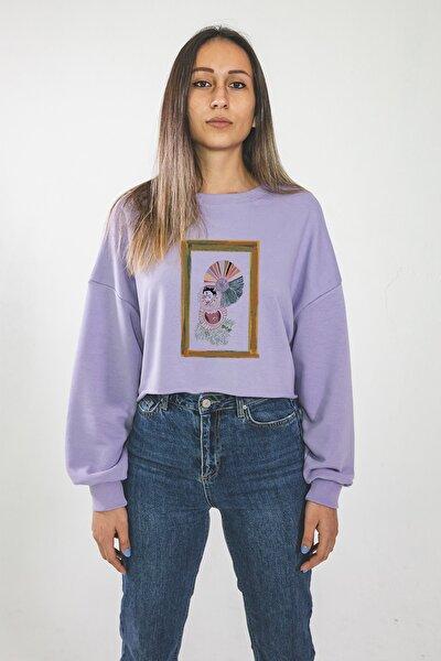 Kadın Özel Tasarım Mantar Lila Crop Sweatshirt