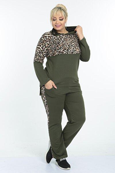 Kadın Haki Tiger Garnili Büyük Beden Kapüşonlu Eşofman Takımı