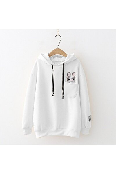 Cepten Çıkan Tavşan Beyaz Sweatshirt