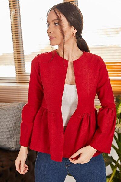 Kadın Kırmızı Beli Ve Kolu Büzgülü Ceket ARM-19K001044